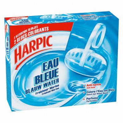 Bloc cuvette WC Harpic Eau bleue - fraicheur marine - 2 en 1 : nettoie et désodorise - lot de 2 blocs (photo)