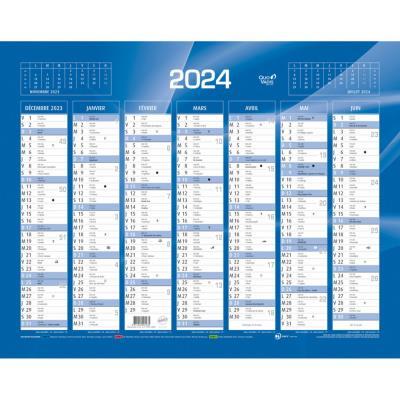 Calendrier 2022 7 mois par face - format 42 x 32 cm - bleu ou rouge