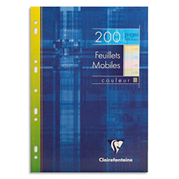Etui 200 feuillets mobiles Clairefontaine - A4 - grands carreaux Seyès - 50 pages à la couleur : bleu, rose, vert, jaune (photo)