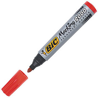 Marqueur permanent Bic Marking 2000 - pointe ogive - rouge