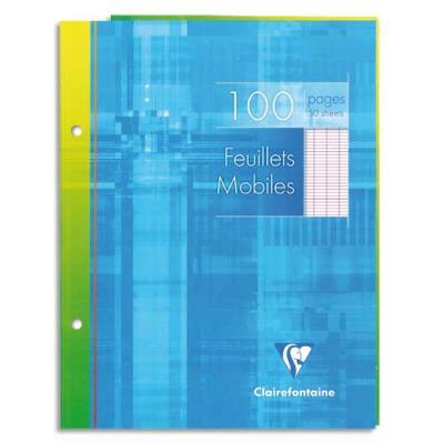 Feuillets mobiles perforés  Clairefontaine - 17x22 cm - grands carreaux - blancs - 90g - 100 pages