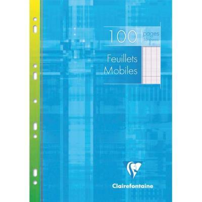 Feuillets mobiles Clairefontaine - 21x29.7 cm - 100 pages - grands carreaux blancs - 90g - sous étuis - carton