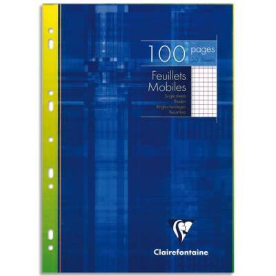Feuilles mobiles perforées Clairefontaine - 21x29,7 cm - petits carreaux - 90 g - 100 pages