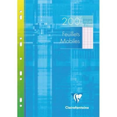 Feuillets mobiles perforés Clairefontaine - 21x29.7 cm - 200 pages - grands carreaux - blanc - 90g