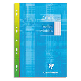 Feuilles mobiles - 400 pages Clairefontaine - 21x29.7 cm - grands carreaux - 90 g - blanc (photo)
