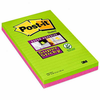 Notes Post-it Super Sticky lignées - 12,5 x 20 cm - coloris néon assortis - lot de 4 blocs de 45 feuilles