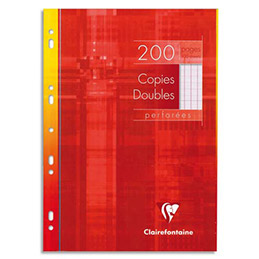 Copies doubles perforées Clairefontaine - blanches 21x29.7cm - 200 pages grands carreaux - 90g - Sous étuis carton (photo)