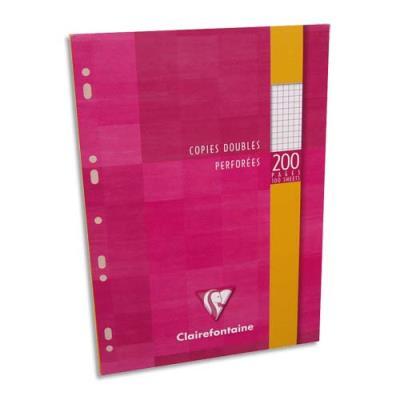 Copies doubles perforées Clairefontaine - blanche 21 x 29.7cm - 200 pages petits carreaux - 90g - Sous étuis carton (photo)
