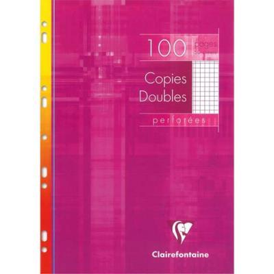 Copies doubles perforées Clairefontaine -  blanche 21x29.7cm - 100 pages petits carreaux - 90g - Sous étuis carton (photo)