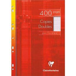 Copies doubles perforées Clairefontaine - blanche 21x29.7cm - 400 pages grands carreaux - 90g - Sous étuis carton (photo)