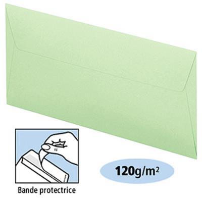 Enveloppe couleur Clairefontaine Pollen - format postal DL - 110 x 220 mm - 120 g/m² bande auto-adhésive - vert - paquet 20 unités