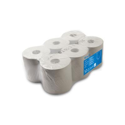 Rouleau distributeur de serviettes en papier - double épaisseur - 450 feuilles - gaufrées - 198 mm - blanc - paquet 6 x 159,8 mètres