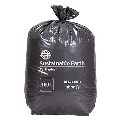 Sac poubelle - 160 L - noir - pour déchets lourds en plastique recyclé 65 microns Ø 95 x H.130 cm - 10 rouleaux de 10 sacs (photo)