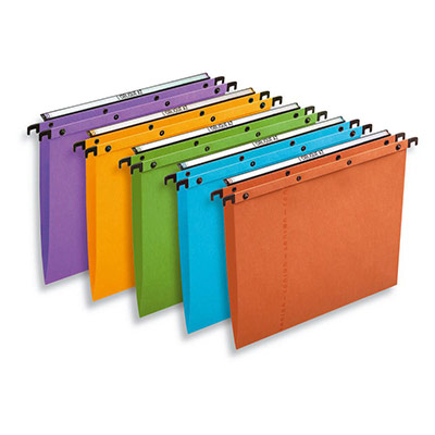Dossiers suspendus AZO en carte Canson coloris assortis - pour tiroir - dos V