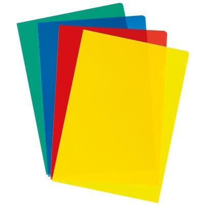 Pochettes coin A4 polypropylène 10/100 - couleurs assorties - boîte de 100