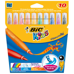 Pochette de 10 feutres de coloriage Bic Kids Visaquarelle - pointe pinceau souple - coloris assortis (photo)
