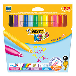 Etui de 12 feutres de coloriage Bic Kids Visacolor XL - pointe ogive extra large - coloris assortis (photo)