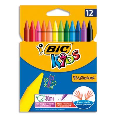 Pochettes de 12 craies plastique Bic Plasticolor - coloris assortis
