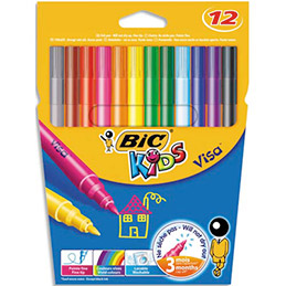 Etui de 12 feutres de coloriage Visa Bic Kids - pointe fine 2 mm - coloris assorties (photo)