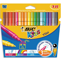 Pochette de 18 feutres Bic Visa - pointe fine - coloris assortis (photo)