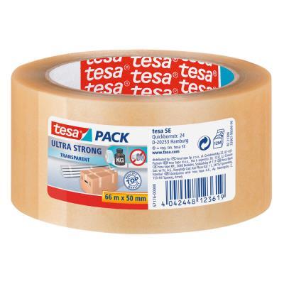 Ruban adhésif d'emballage tesapack PVC Ultra Strong 65 microns - 50 mm x 66 m - transparent