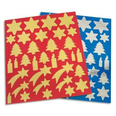 Sachet de 6 planches de gommettes thème Noël, 3 coloris Or, 3 coloris argent, format 21x24 cm