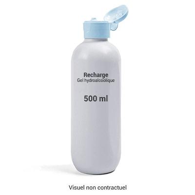 Gel hydroalcoolique pour désinfection des mains - bouchon gicleur - bidon recharge de 500 ml (photo)