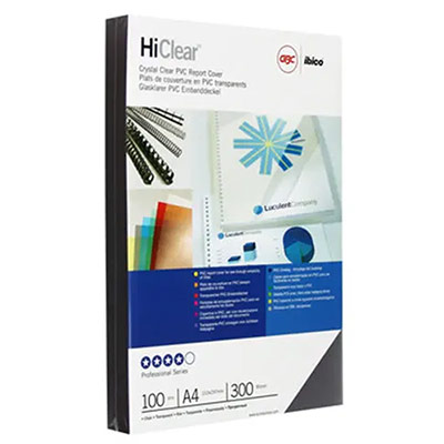 Couvertures GBC Highclear - A4 - 300 microns - transparent - boîte de 100