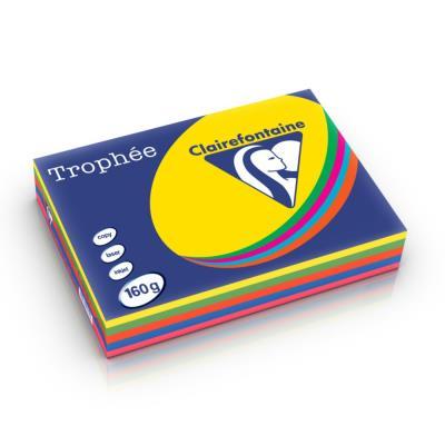 Papier couleur Trophée - 160 g - A4 - coloris assortis intense : soleil - menthe - cardinal - bleu - fuschia - ramette de 5x50 feuilles