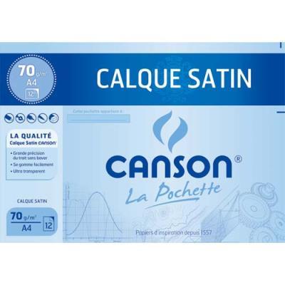 Papier calque Canson - satin - 90 g - 24 x 32 cm - pochette de 12 feuilles
