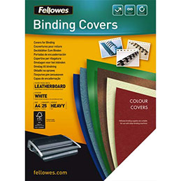 Couvertures Fellowes Delta - format A4 - en carton effet grain cuir - blanc - boîte de 25