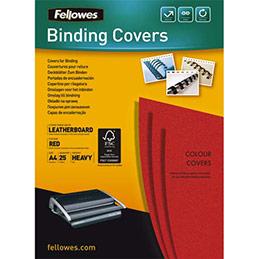 Couvertures Fellowes Delta - format A4 - en carton effet grain cuir - rouge - boîte de 25