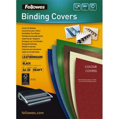 Couvertures Fellowes Delta - format A4 - en carton effet grain cuir - noir - boîte de 25