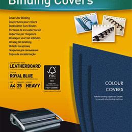 Couvertures Fellowes Delta - format A4 - en carton effet grain cuir - bleu royal - boîte de 25