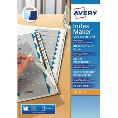 Kit de présentation Avery Indexmaker L7455-6 - intercalaires non perforées 6 touches - 05002061