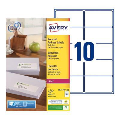 Étiquettes adresses recyclées LR7173 Avery - pour imprimante laser - 99,1 x 57 mm - blanc - 1000 étiquettes par boîte (photo)