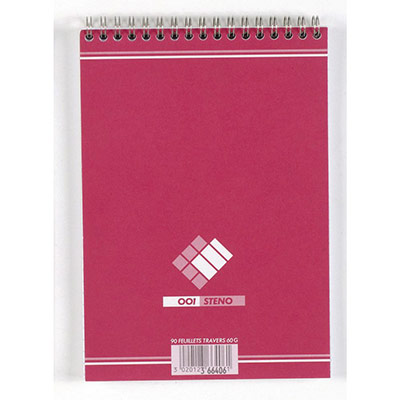 Bloc de bureau sténo 001 Hamelin - format A5 14,8 x 21cm - 180 pages - réglure travers (photo)