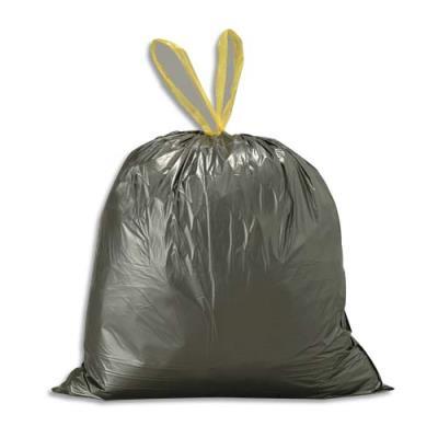 Sacs poubelle avec liens coulissants - 30 litres - noirs  - 25 microns - lot de 500 sacs (photo)