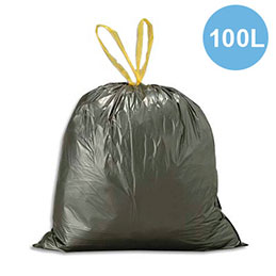 Sacs poubelle avec liens coulissants - 100 litres - noirs  - 35 microns - lot de 200 sacs (photo)