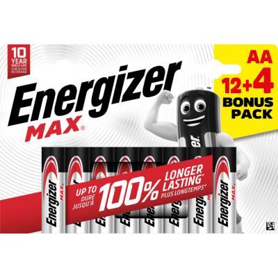 Pile alcaline AA / LR6 Energizer Max - pack Promo 12 + 4 GRATUITES - blister 16 unités
