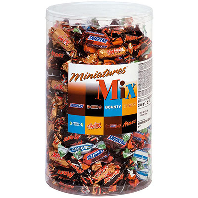 Assortiment de mini chocolats : Mars, Bounty, Snikers, Twix - 296 pièces - 3 kg (photo)