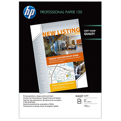 Papier A3 blanc 120g HP Professional Mat jet d'encre - paquet de 100 feuilles (photo)