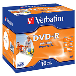 Verbatim - 10 x DVD-R - 4.7 Go 16x - surface imprimable photo large - boîtier CD (photo)