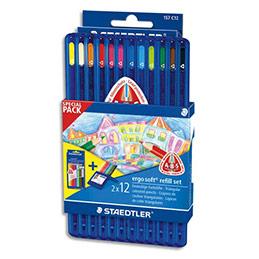 Pack 1 etui Staedtler box 12 crayons ergosoft + 1 étui recharge 12 crayons offert (photo)