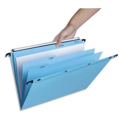 Dossiers suspendus à onglets en kraft bleu L'Oblique AZ - pour tiroir - fond V - lot de 5 (photo)