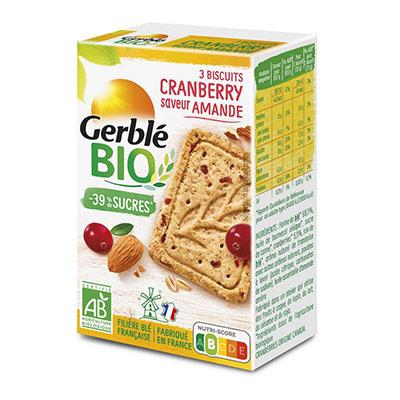 Biscuits diététiques Bio Gerblé -39% de sucres - cranberry saveur amande - boite de 3