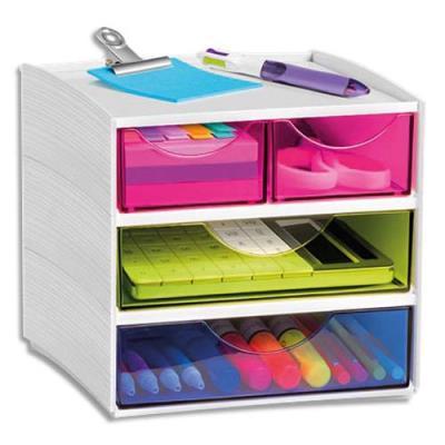 Bloc de rangement 4 compartiments CEP - coloris Blanc/assortis (photo)