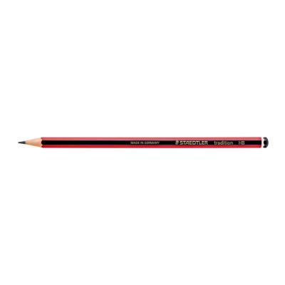 Tradition Crayon de papier avec gomme mine HB corps hexagonal noir et rouge - paquet 12 unités
