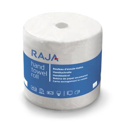 Rouleau d'essuie-mains en papier - double épaisseur - gaufré - 500 feuilles - 234 mm - blanc - rouleau 156 mètres
