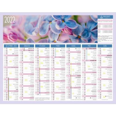 Calendrier bancaire Fleurs - 21 x 26 -5 cm - 2021